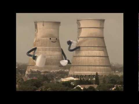 Cooling Towers Collapsing Cartoon