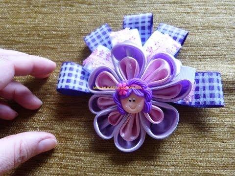 tutorial accesorios flores moños lazos en cinta y tela  para el cabello paso a paso