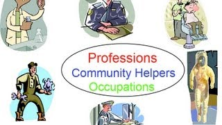 Community Helpers for preschool children, occupations, professions flashcards