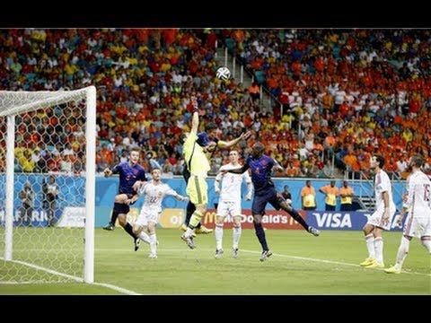 Netherlands  5- 1 Spain (Brazil2014)  أهداف مبارة هولندا وإسبانيا