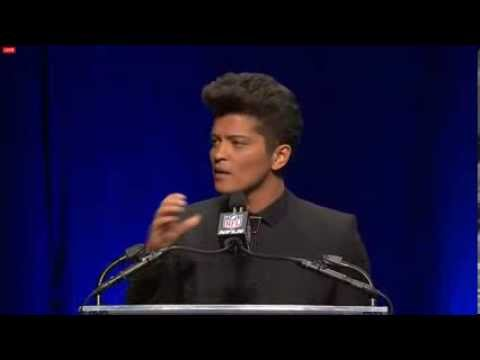Bruno Mars Press Conference For The Super Bowl