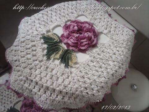 Capa da tampa do vaso - Tapetes em crochês
