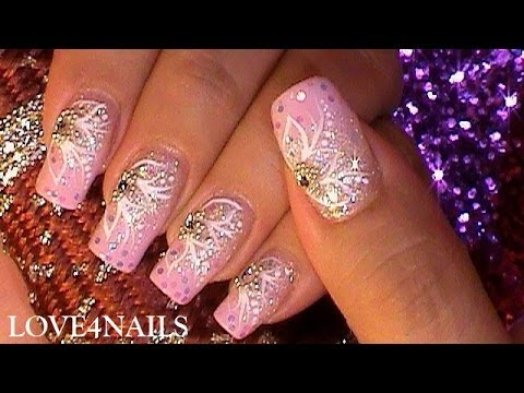 How to Pink Princess Party Nail Art Design Tutorial