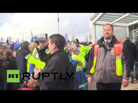 UK: Cardiff City FC supporters protest kit colour change