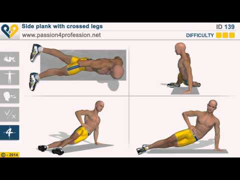Cvik na břicho -boční plank (exercise for belly-Side plank with crossed legs )
