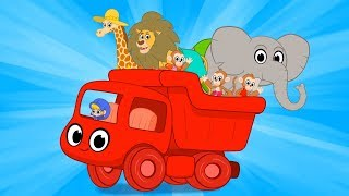 A truck full of animals! Morphle goes to the beach with a lion an elephant, a giraffe and monkeys