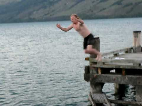 Phil's jump into freezing cold lake!