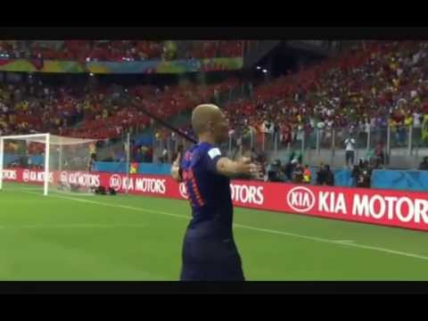 Netherlands vs Spain - Arjen Robben's First Goal - FIFA World Cup 2014