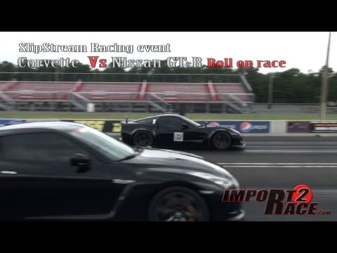Corvette  Vs Nissan GT R Roll on race