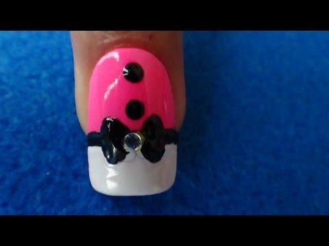 UNHAS DECORADAS TERNINHO ROSA E PRETO 2 - Tutoria Nail Art Design