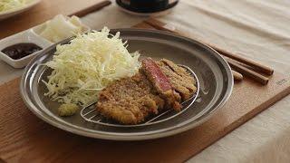 [4K] 바삭바삭~ 규카츠 : Fried beef cutlets (Gyukatsu) | Honeykki 꿀키