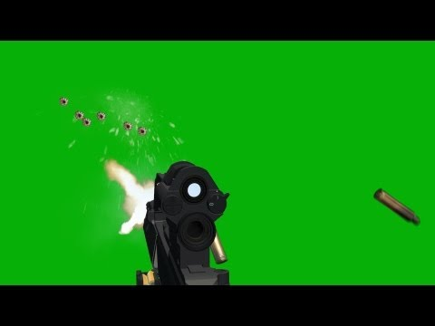 Assault Rifle SHOOTING with wall hits FX - green screen