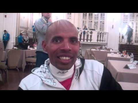 Meb Keflezighi talks prior to 2014 Boston Marathon