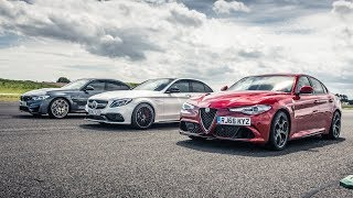 BMW M3 vs Merc C63 S vs Alfa Giulia - Drag Races - Top Gear. Watch online.