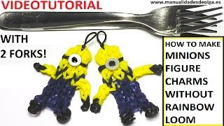 Minion Charm With Two Forks Without Rainbow Loom Tutorial