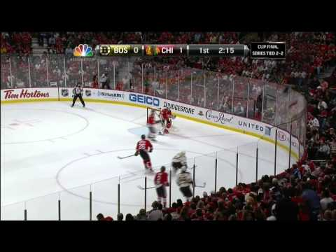 Patrick Kane backhand stuffer goal 1-0. 6/22/13 Boston Bruins vs Chicago Blackhawks NHL Hockey