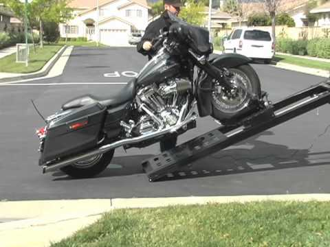 Rampage power Lift Motorcycle loader for pickup trucks - YouTube
