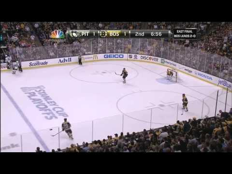Watch Gregory Campbell hard core after slapshot to leg . 6/5/13 Pittsburgh Penguins vs Boston Bruins NHL