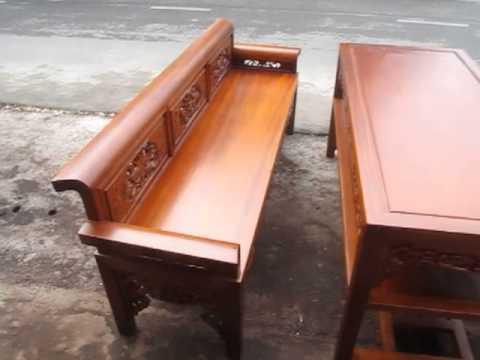 Trường kỷ gỗ gụ, bàn 160 x 70, chân 5,5 cm, rất dầy, đồ gỗ đức hiền