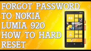 Nokia Lumia 920 hard reset - YouTube