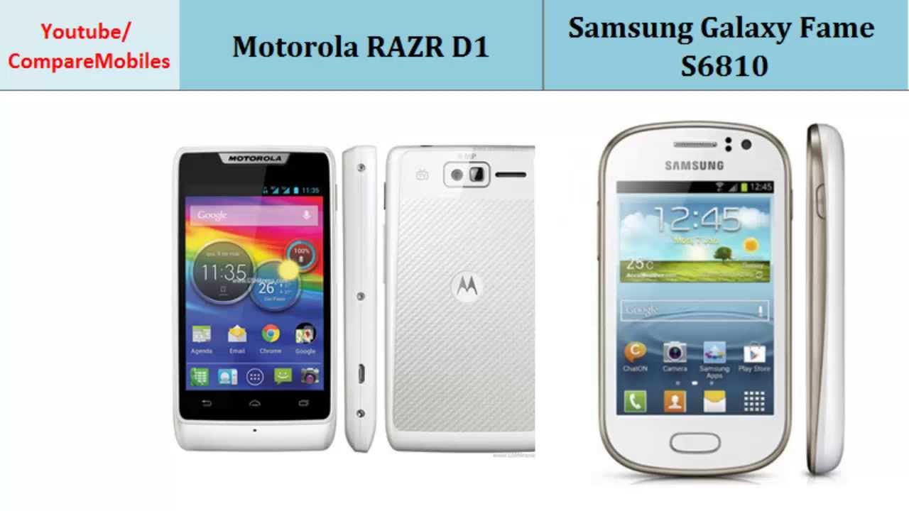 Motorola RAZR D1 VS Samsung Galaxy Fame S6810, all ...