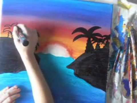 comment peindre un beau coucher de soleil youtube. Black Bedroom Furniture Sets. Home Design Ideas
