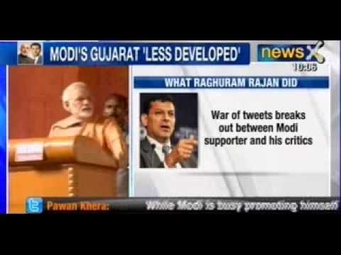 News X : RBI Governor Raghuram Rajan 'Downgrades' Modi's Gujarat