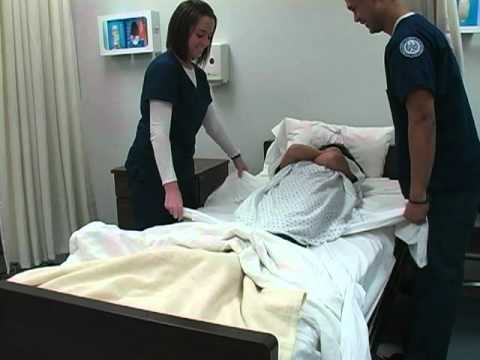 Nursing Move A Patient Up In Bed Youtube