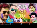 Top 10  Hits     Holi Songs  VIDEO JUKEBOX  Latest Bhojpuri Holi Songs 2018