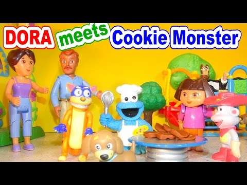 Dora The Explorer meets Cookie Monster Chef and our new Puppy