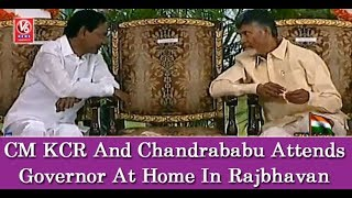 KCR, Chandrababu seen chatting up at Governor's feast..