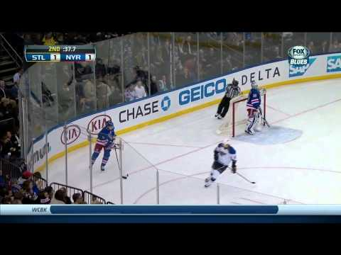 Rick Nash wrist shot goal 1-1 St. Louis Blues vs NY Rangers 1/23/14 NHL Hockey.