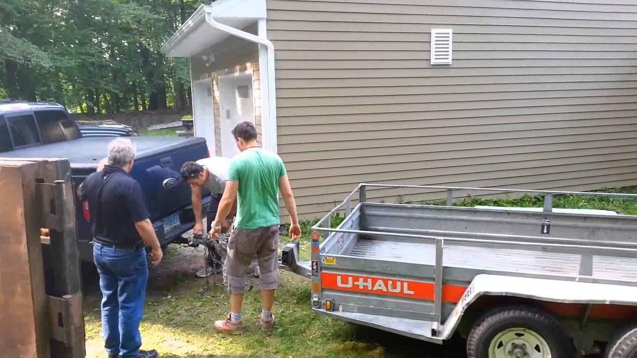 Loading an 8 ft hot tub on a U Haul 6 x 12 utility