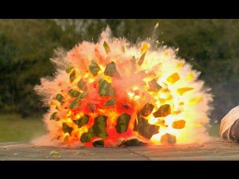 下一秒!慢鏡下西瓜大爆炸...