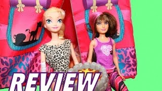 Barbie Sisters Doll Camping Tent REVIEW With Disney Frozen