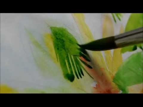 water colour painting a coconut tree