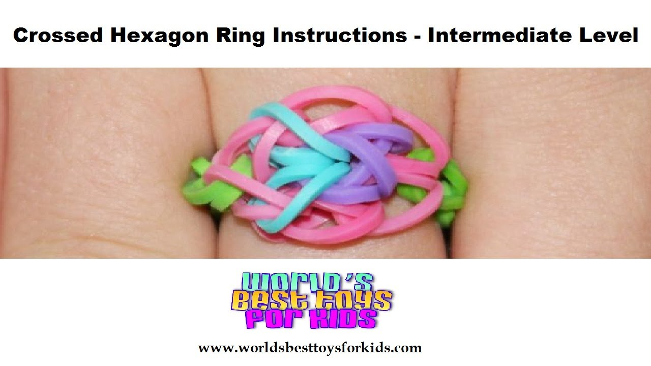 rainbow loom rubber band refill crossed hexagon ring