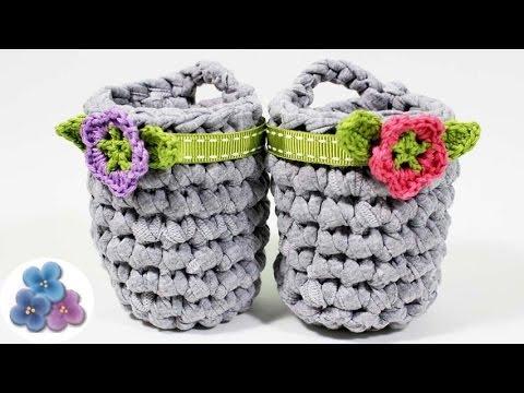 Como hacer cestas organizadoras de trapillo facil diy - Cestas de ganchillo ...