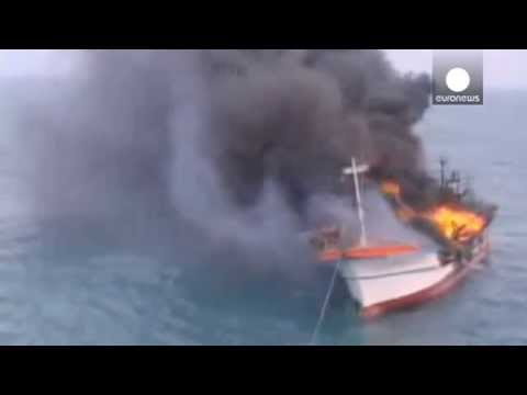 Video: Fishing boat blaze off South Korea, six killed in fire