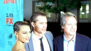 JUSTIFIED cast and crew discuss the writing - Timothy Olyphant, Graham Yost, Walton Goggins)