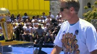 Warriors' Head Coach Steve Kerr Jokes To Fans During Speech