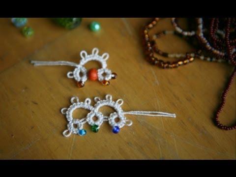 Tatting - #2 Adding Beads (b) in Needle Tatting: method one by RustiKate