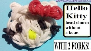 Hello Kitty Head Figurine With Two Forks Without Rainbow