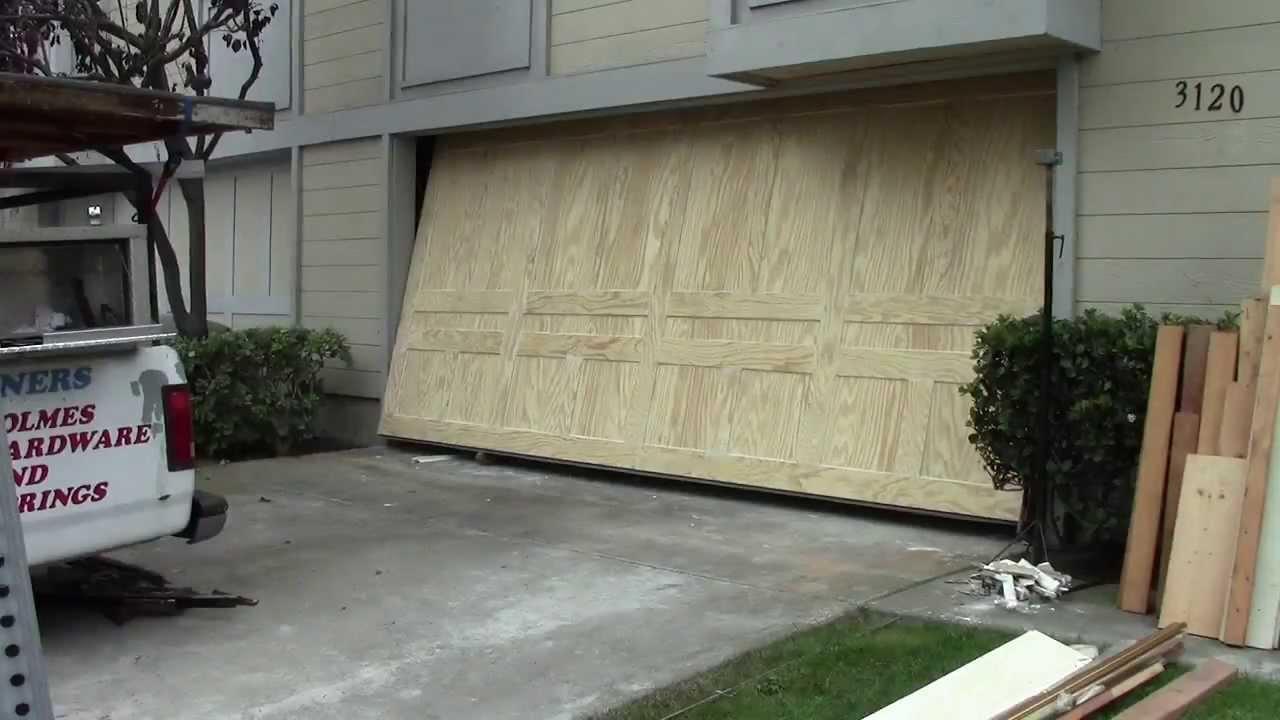 A wood one piece garage door youtube for 1 piece garage door