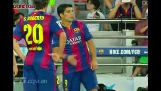 Recuperado da lesão na coluna sofrida na Copa do Mundo, Neymar foi um dos protagonistas da vitória do Barcelona por 6 a 0 sobre León, do México: atuando em um tempo só, o brasileiro balançou as redes duas vezes e deu uma assistência. Messi, Munir (2) e Sandro Ramírez completaram o placar. Neste jogo, Luis Suárez estreou no time espanhol aos 31 minutos.