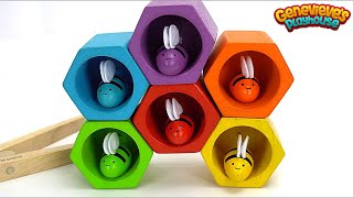 Teach Toddlers Colors and Counting with Toy Bees and Beehive!