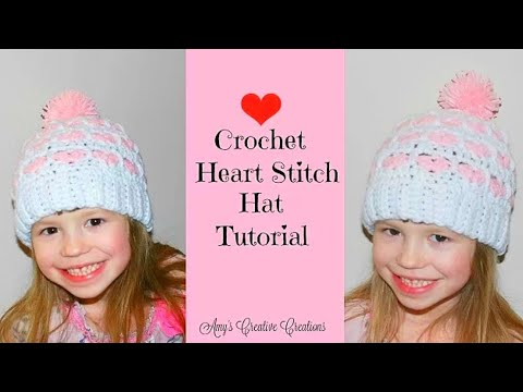 Crochet Heart Stitch Hat Tutorial Part 2