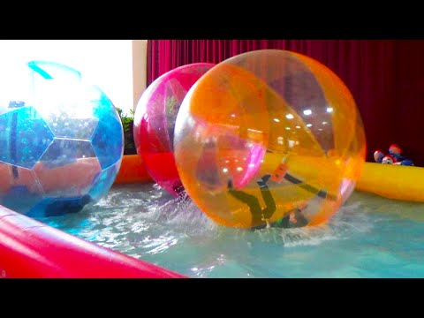 Giant WATER BALLS in a pool  - Fun activities for Kids and Toddlers
