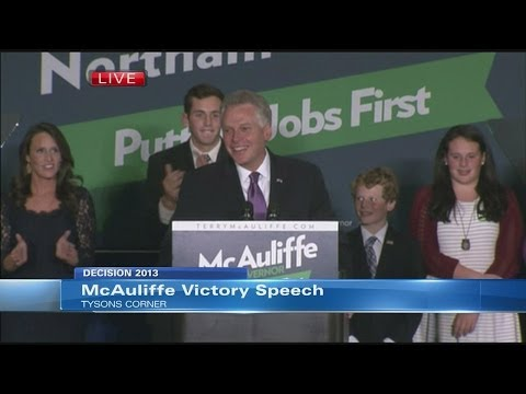 Democrat Terry McAuliffe's victory speech