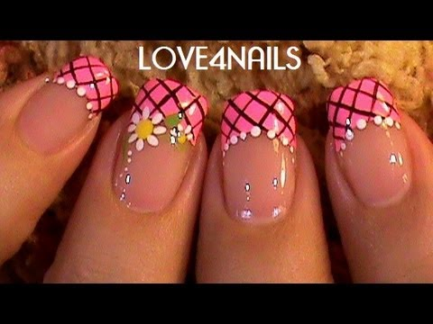 Pink Daisy Frenzy Nail Design